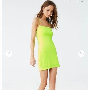NWT forever 21 crisscross cami dress neon yellow